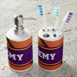 Purple and Yellow Sports Team Colors Basketball Bath Accessory Sets