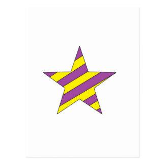 purple and yellow star postcard