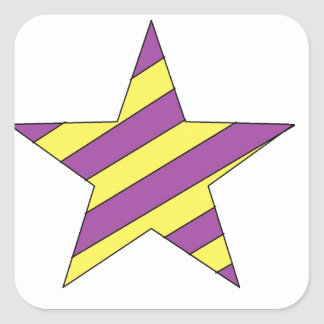 purple and yellow star square stickers