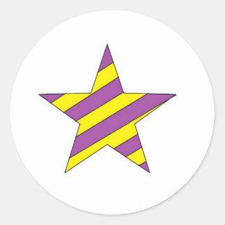 purple and yellow star round stickers