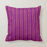 [ Thumbnail: Purple and Yellow Stripes Throw Pillow ]