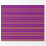 [ Thumbnail: Purple and Yellow Stripes Wrapping Paper ]