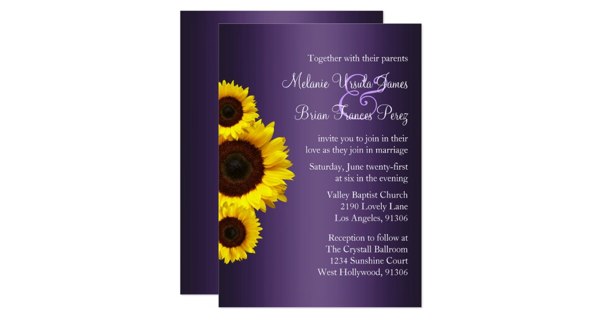 Cheap Sunflower Wedding Invitations: Purple And Yellow Sunflower Wedding Invitation