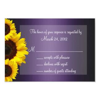 Purple and Yellow Sunflower Wedding RSVP 3.5x5 Paper Invitation Card
