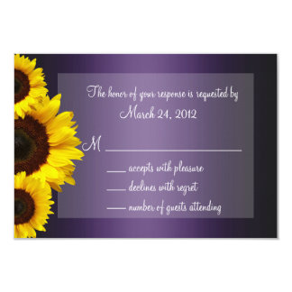 Purple and Yellow Sunflower Wedding RSVP Card