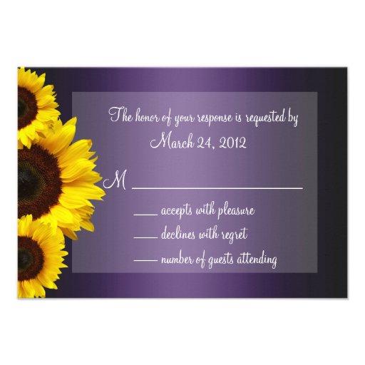 Purple And Yellow Sunflower Wedding RSVP 35x5 Paper Invitation Card