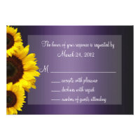 Purple and Yellow Sunflower Wedding RSVP Personalized Invite (<em>$1.75</em>)