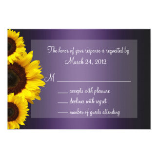 Purple and Yellow Sunflower Wedding RSVP Personalized Invite
