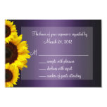 Purple and Yellow Sunflower Wedding RSVP 3.5x5 Paper Invitation Card
