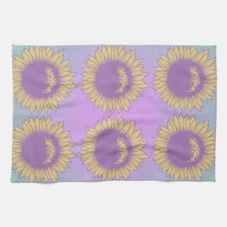 Purple and Yellow Sunflowers Kitchen Towels