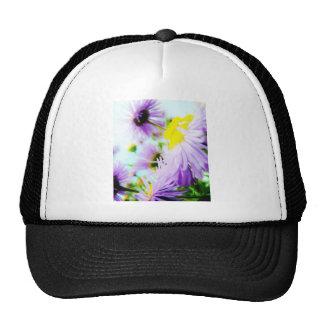 purple and yellow trucker hat