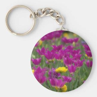 Purple and Yellow Tulips Keychain