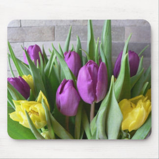 Purple And Yellow Tulips Mousepads