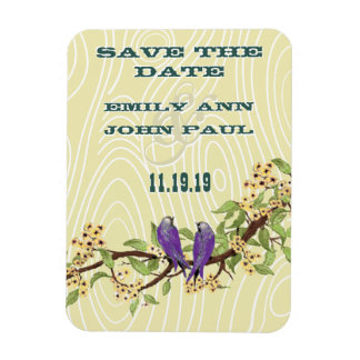 Purple and Yellow Vintage Love Bird Magnet