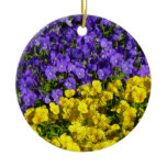 Purple and Yellow Violas Colorful Floral Ceramic Ornament