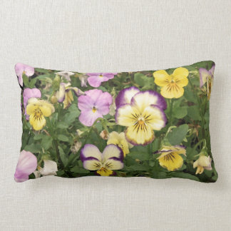 Purple and Yellow Violets on Green Pillow
