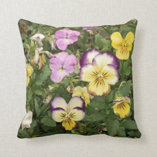 Purple and Yellow Violets on Green Throw Pillow
