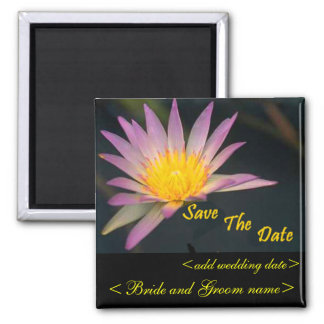 Purple And Yellow Water Flower 2 Inch Square Magnet