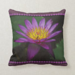 Purple and Yellow Waterlily Photo Pillow Throw Pillows