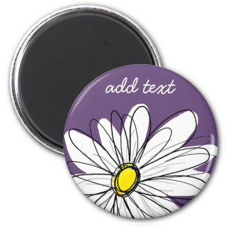 Purple and Yellow Whimsical Daisy Custom Text 2 Inch Round Magnet