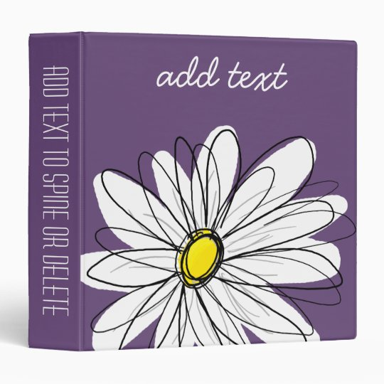 Purple and Yellow Whimsical Daisy Custom Text 3 Ring Binder