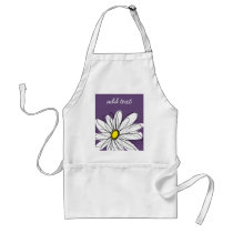 Purple and Yellow Whimsical Daisy Custom Text Adult Apron