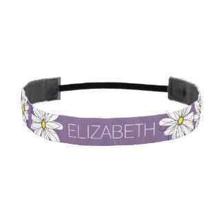 Purple and Yellow Whimsical Daisy Custom Text Athletic Headband