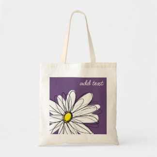 Purple and Yellow Whimsical Daisy Custom Text Budget Tote Bag