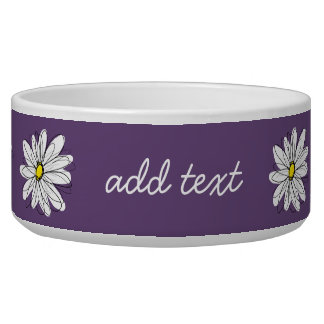 Purple and Yellow Whimsical Daisy Custom Text Bowl