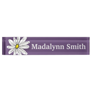 Purple and Yellow Whimsical Daisy Custom Text Desk Name Plate