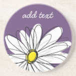 Purple and Yellow Whimsical Daisy Custom Text Drink Coaster