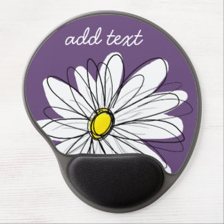 Purple and Yellow Whimsical Daisy Custom Text Gel Mouse Pad