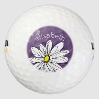 Purple and Yellow Whimsical Daisy Custom Text Golf Balls