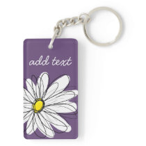 Purple and Yellow Whimsical Daisy Custom Text Keychain