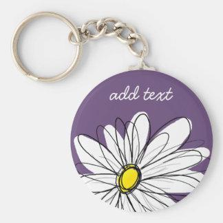 Purple and Yellow Whimsical Daisy Custom Text Keychain