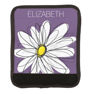 Purple and Yellow Whimsical Daisy Custom Text Luggage Handle Wrap