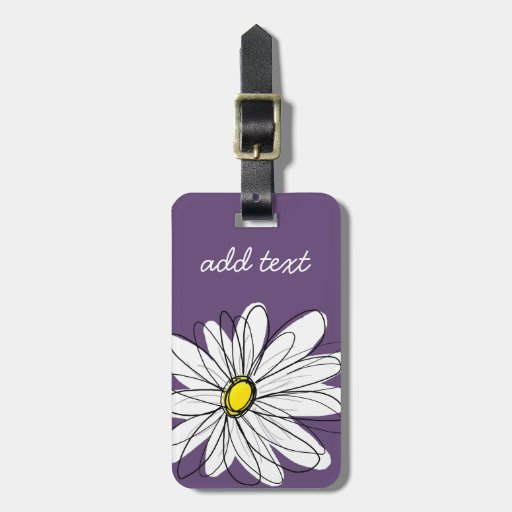 Purple and Yellow Whimsical Daisy Custom Text Tag For Bags
