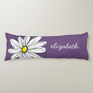 Purple and Yellow Whimsical Daisy Custom Text Body Pillow