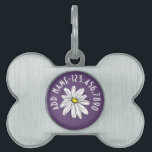 "Purple and Yellow Whimsical Daisy Custom Text Pet Name Tag<br><div class=""desc"">A zen and whimsical,  hipster piece of art. You can add a name,  monogram or other custom text. If you need to move the art around,  click on the customize button to make changes.</div>"