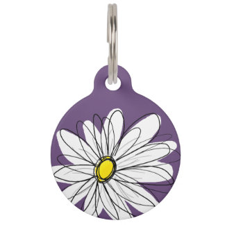 Purple and Yellow Whimsical Daisy Custom Text Pet Name Tags