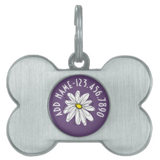 Purple and Yellow Whimsical Daisy Custom Text Pet Tag