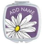 Purple and Yellow Whimsical Daisy Custom Text Makeup Mirror