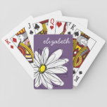 "Purple and Yellow Whimsical Daisy Custom Text Playing Cards<br><div class=""desc"">A zen and whimsical,  hipster piece of art. You can add a name,  monogram or other custom text. If you need to move the art around,  click on the customize button to make changes.</div>"