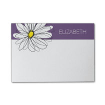 Purple and Yellow Whimsical Daisy Custom Text Post-it Notes