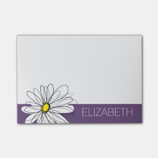 Purple and Yellow Whimsical Daisy Custom Text Post-it® Notes