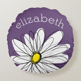 Purple and Yellow Whimsical Daisy Custom Text Round Pillow