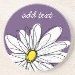 Purple and Yellow Whimsical Daisy Custom Text Sandstone Coaster