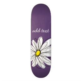 Purple and Yellow Whimsical Daisy Custom Text Skateboard Deck