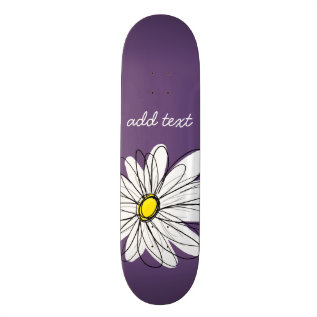 Purple And Yellow Whimsical Daisy Custom Text Skateboard Deck at Zazzle