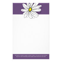 Purple and Yellow Whimsical Daisy Custom Text Stationery